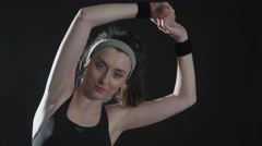 Working working out in black background Stock Footage