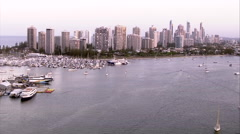 Rising shot of Gold Coast and Southport Stock Footage
