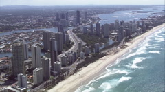 Aerial flyover along Gold Coast shoreline Stock Footage