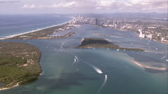 Very distant aerial approach of Gold Coast city Stock Footage