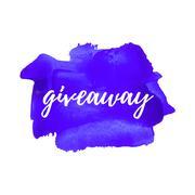 Giveaway card, logo, poster, vector illustration on hand drawn violet paint b - stock illustration