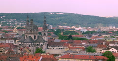 Aerial 4K view of Wurzburg city, Germany. Historical center Wuerzburg Germany Stock Footage