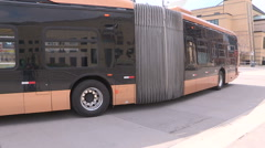 All electric transit bus from BYD in China on display in Mississauga Canada v7 Stock Footage