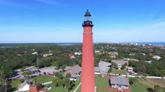 Closer view slowly rising to see the ocean behind the Ponce De Leon Lighthouse Stock Footage
