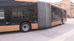 All electric transit bus from BYD in China on display in Mississauga Canada v8 Stock Footage