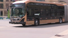 All electric transit bus from BYD in China on display in Mississauga Canada v10 Stock Footage