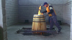 Production of wine barrels Stock Footage