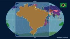 Stock Video Footage of Brazil - 3D tube zoom (Kavrayskiy VII projection). Administrative