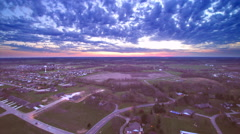 HDR aerial descent time lapse sunset - stock footage