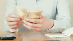 Home Budget - Counting Money Stock Footage