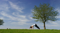 Young woman flows into a yoga wild thing pose or Camatkarasana, in slow motion Stock Footage