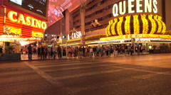 Las Vegas Fremont Street downtown crowd casino road crossing 4K Stock Footage