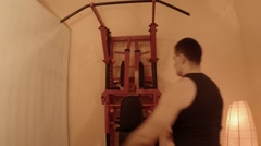 Several Young Men Changes Location of Uneven Bars on the Wall Bars in the Room Stock Footage