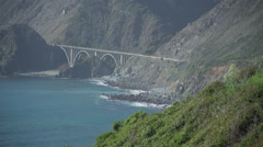 Wide shot of historic bridge along highway 1 - stock footage
