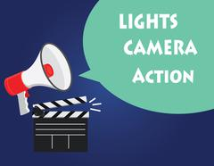 lights camera action illustration with director tools - stock illustration