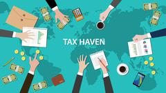 tax haven panama papers concept with money world map document - stock illustration