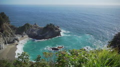Left pan of McWay falls waterfall Stock Footage