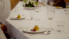 A group of people having a gourmet dinner: appetizer. - stock footage