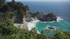 View of McWay falls and the cove Stock Footage