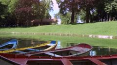 Boats on the lake. Bom Jesus Garden. Braga, Portugal. Stock Footage