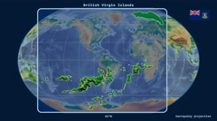British Virgin Islands - 3D tube zoom (Kavrayskiy VII projection). Bumps shaded - stock footage