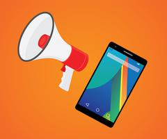 mobile marketer promotion with smartphone and megaphone - stock illustration