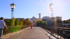 Old bridge on a small village in Portugal - Chaves Stock Footage