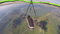 Hang Glider Flying Straight Over Rural Area Stock Footage