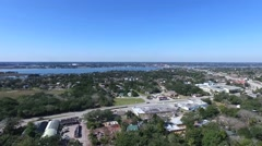 High aerial video of the St. Augustine lighthouse viewing waterway in background - stock footage