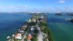 High aerial view of the Venetian causeway in Miami Stock Footage