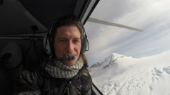 Whistler Mountains Aerial Helicopter Selfie Interior Stock Footage