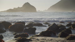 Low angle close up view of Pfeiffer beach Stock Footage