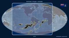 British Virgin Islands - 3D tube zoom (Mollweide projection). Bumps - stock footage