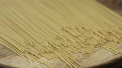 Circle around uncooked pasta closeup - stock footage