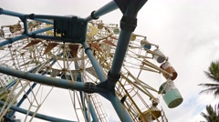 Non-functioning Ferris wheel at a popular beach in Nha Trang. Stock Footage