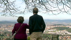 Senior couple see view Braga - Portugal and comment. Stock Footage