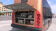 All electric transit bus from BYD in China on display in Mississauga Canada V29 Stock Footage