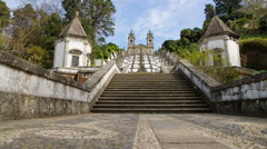 Staircase of Bom Jesus, Braga, Portugal. Stock Footage