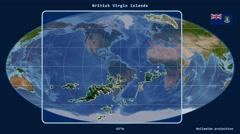 British Virgin Islands - 3D tube zoom (Mollweide projection). Satellite - stock footage