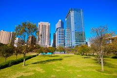 Houston Discovery green park in downtown Stock Photos