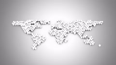 Hexagons Form a Map of the World Stock Footage