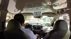 Typical taxi ride through Dalat, on a sunny day. UltraHD video Stock Footage