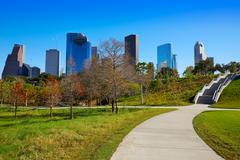 Houston skyline in sunny day from park grass Stock Photos