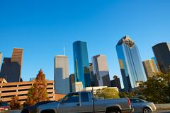 Houston downtown skyline of Texas city in US - stock photo