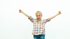 Portrait girl dancing on the white background and smiling at camera - stock footage
