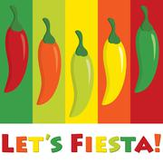 """Let's Fiesta!"" (Let's Party) chilli pepper card in vector format. - stock illustration"