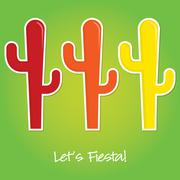 """Let's Fiesta"" paper cut out card in vector format. Stock Illustration"