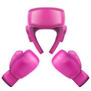 Boxing helmet and gloves. Self-defense Stock Illustration