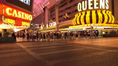 Las Vegas Nevada Fremont Street downtown crowd fast motion 4K 011 Stock Footage