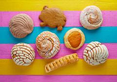 Mexican pastries concha puerquito ojo buey - stock photo